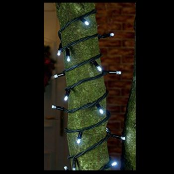 20m Rubber White LED Fairy Lights - Black Cable