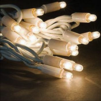 20m Rubber Warm White LED Fairy Lights - White Cable