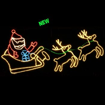 Santa,Sleigh and Two Reindeer