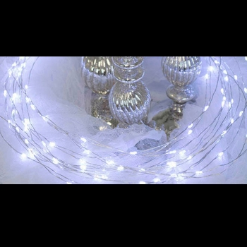 3m Cool White Silver Wire Battery Lights