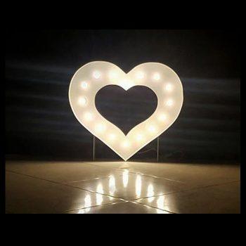 White Marquee Heart