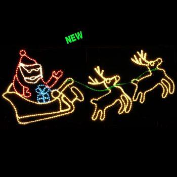Santa,Sleigh and Two Reindeer