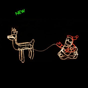 3D Santa in Sleigh with Reindeer