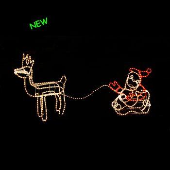 3D Santa in Sleigh with Reindeer